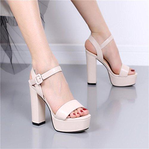 Sandali spessi Beige estivi dimensioni con alto Beige tacco scarpe 37 con Colore R4pRgx