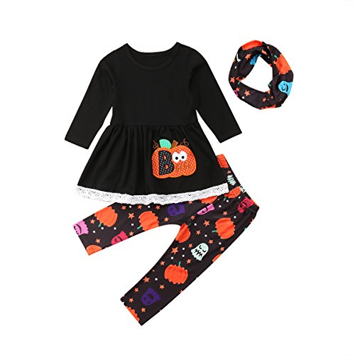 MLCHNCO Baby Girl Halloween Clothes Pumpkin Print Top Long Sleeve T-Shirt Infant Outfits Set 3PC (3-4Y) -