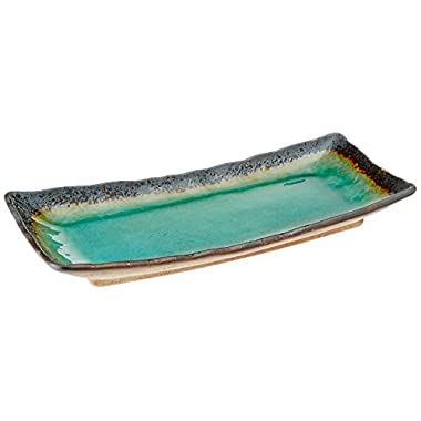 Happy Sales HSTG-LGPL Japanese Kosui Plate, Turquoise Green, Large