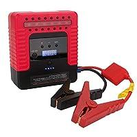 Comprajunta 12V Jump Starter Kit,Car Emergency Power Supply,16800Mah (Gas 4.0, Diesel 3.0 Engine) LCD Display,Compressor