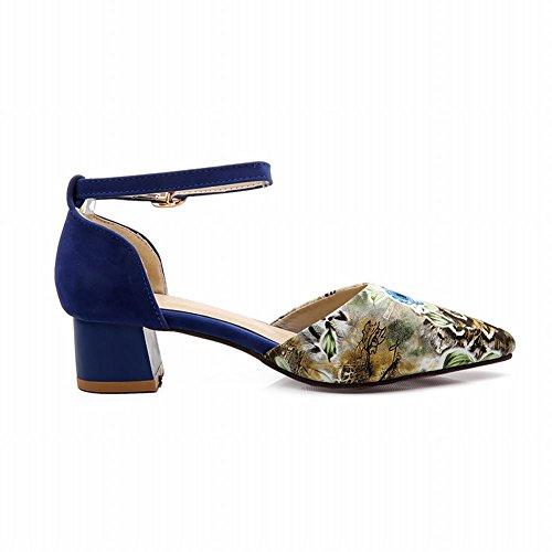 Charm Foot New Fashion Womens Chunky Heel Mary Jane Pumps Shoes Blue 2HO7rROg