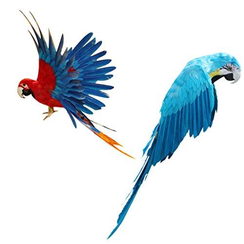 D DOLITY Set 2pcs x Artificial Decorative Birds Realistic Imitation Parrots Yard Lawn Decor]()