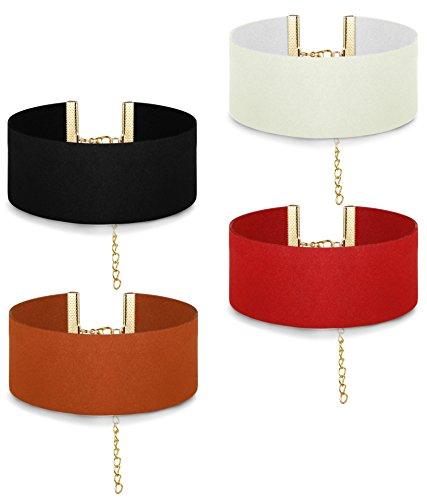 ORAZIO 4PCS Large Velvet Choker Necklace Set Punk Link Collar Necklace for Women Length Adjustable (Necklace Choker Wide)