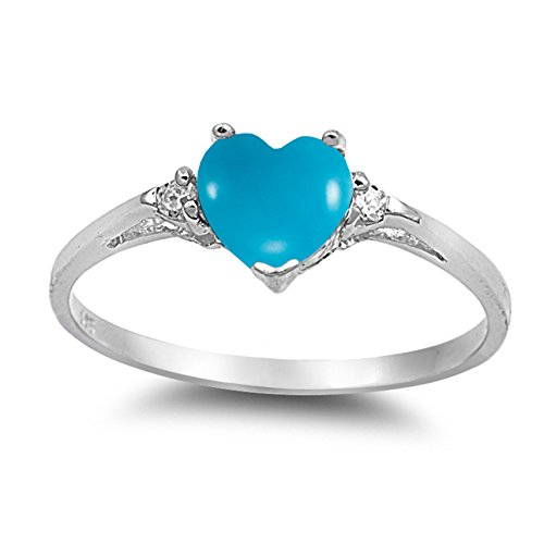 925 Sterling Silver Cabochon Natural Genuine Arizona Blue Turquoise Heart Promise Ring Size 6
