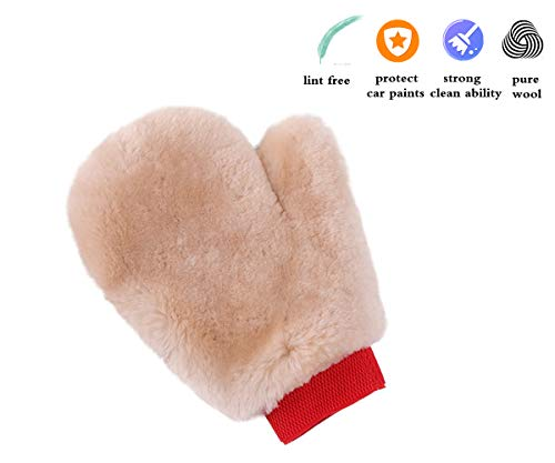 - OKAYDA 100% Lambs Wool Car Wash Mitt, Natural Sheepskin Mitt, High Density, Soft, No Scratches, Suit for Car, Glass, Home, Office Cleaning (with Finger)