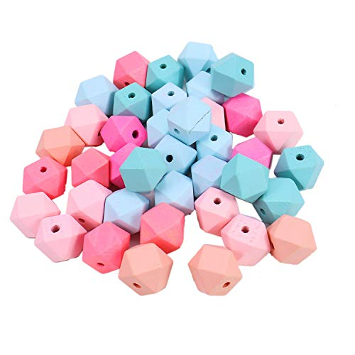 """Monrocco 40pc 20mm/0.8"""" Painted Geometric Wooden Spacer Beads Unfinished Wood Loose Beads Assorted Color Wood Spacer Beads for DIY Project Jewelry Making"""