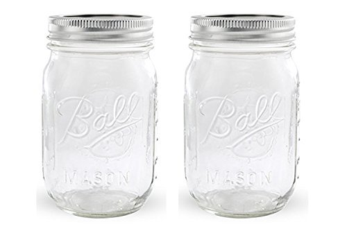 Ball Jar, Set of 2 389579 Pint Regular Mouth Mason, Pack Of 2, Clear ()