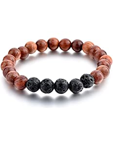 Mystiqs Lava Rock and Dark Wood Beaded Bracelet Essential...