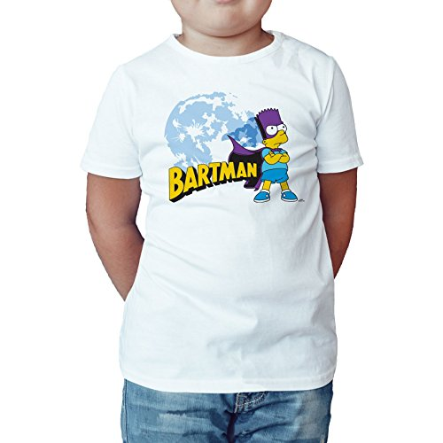 Ned Flanders Simpsons - The Simpsons Bartman Watcher Official Kid's T-Shirt (White) (9-11)