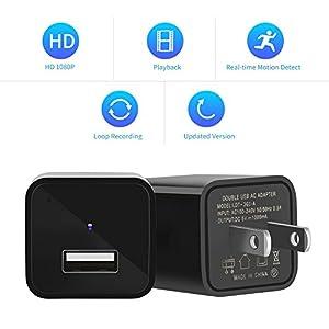 Hoicmoic Hidden Camera, 1080P HD Camera USB Wall Charger, Nanny Camera Adapter Support 32GB Micro SD Card (not included)