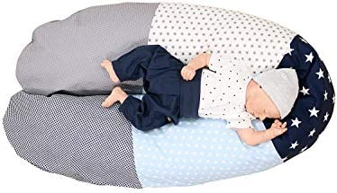 Funda para cojín de lactancia de ULLENBOOM ® azul claro azul gris (funda para cojines de lactancia de 190 x 38 cm; cojín de apoyo, almohada para ...