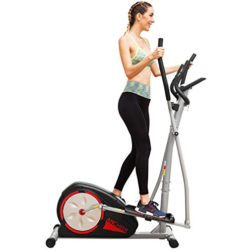 ANCHEER Elliptical Machine Trainer Magnetic Smooth Quiet Driven with LCD Monitor and Pulse Rate Grips (Black.)