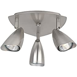Globe Electric Grayson 3-Light Canopy Track Lighting Kit, Brushed Steel Finish, 58929
