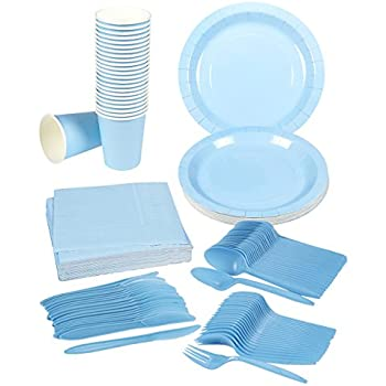 Disposable Dinnerware Set - Serves 24 - Party Supplies - Includes Plastic Knives Spoons Forks Paper Plates Napkins Cups Light Blue  sc 1 st  Amazon.com & Amazon.com: Disposable Dinnerware Set - Serves 24 - Blue Party ...