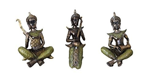 Creativegifts Thai Musicians Set of 3 Statue for Home Decor Gift (11x5x4 inch) by Creativegifts