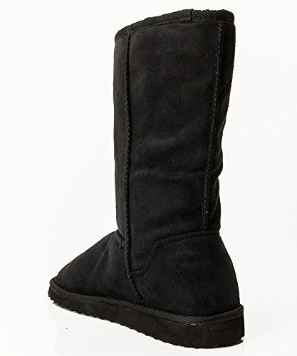 Soda Women's Soong Comfort Faux Suede Fur Mid- Calf Flat Boot, Nat, 8 M US,6 B(M) US,Black-NEW