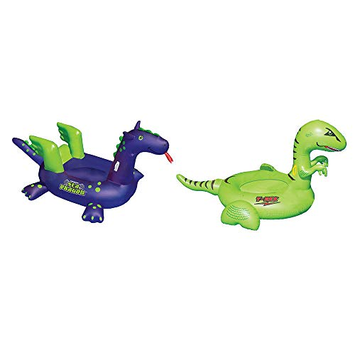 MRT SUPPLY Giant Inflatable Swimming Float Lounger Sea Dragon Toy and Dinosaur Toy with Ebook