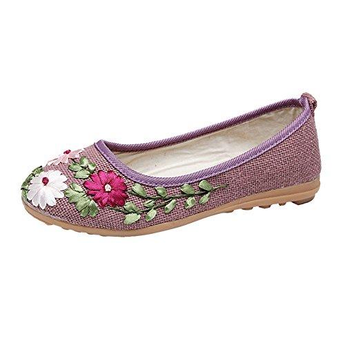 Zapatos Bordado Púrpura Etnico para Verano Zapatos Boquilla Bailarinas Mujer MISSMAOM Mujer Estilo Planos ntY867qxF