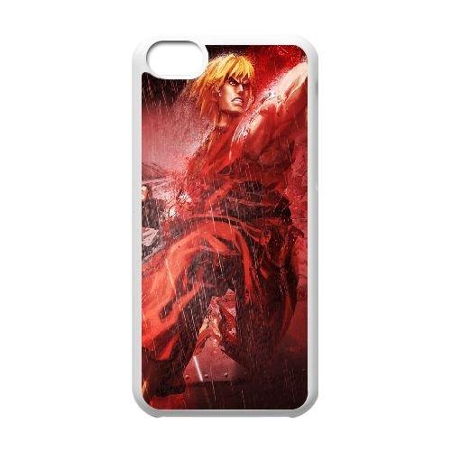 Street Fighter X Tekken Ken Character Fighter Rain 22203 coque iPhone 5c cellulaire cas coque de téléphone cas blanche couverture de téléphone portable EEECBCAAN04273