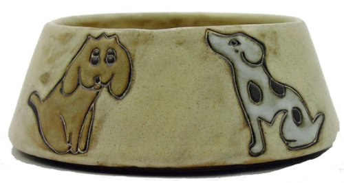 Mara Ceramic Stoneware 24 Oz. Dogs Brown Medium Dog Dish For Sale
