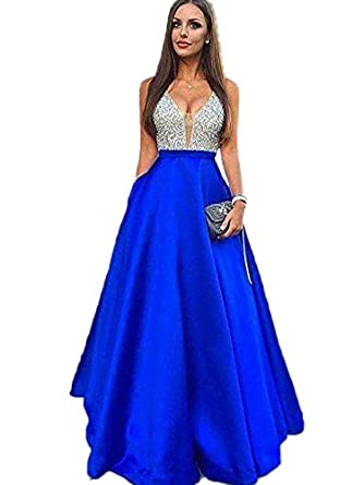 Womens V-Neck Satin Prom Dresses A Line Formal Evening Dress Pageant Gown Royal Blue