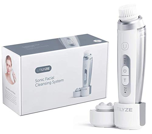 UTILYZE Premium 3-Speed Sonic Facial Cleansing Brush, 2-in-1 Advanced Electric Exfoliating Brush Face Massager, Rechargeable Face Cleanser For Men Women, Built In Face Care Programs