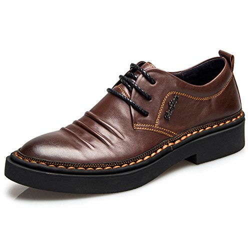 Rainstar Mens Lace Up Oxford Dress Shoes Scarpe Da Lavoro In Pelle Pieno Fiore Marrone