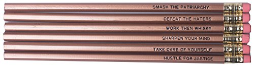 Smash the Patriarchy / Hustle for Justice Feminist Pencil Set in Gold