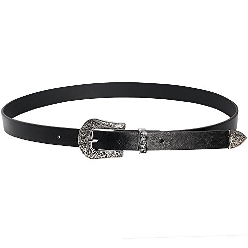Wink Gal Women's Metal Solid Buckle Vintage Western Belt For Jeans Silver