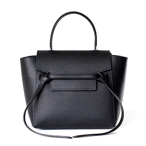 - ACTLURE Women Genuine Cowhide Leather Mini Belt Cross Body Top Handle Bag Purse (Black)