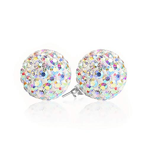 BAYUEBA 925 Sterling Silver Crystal Ball Stud Earrings 10mm Clear AB