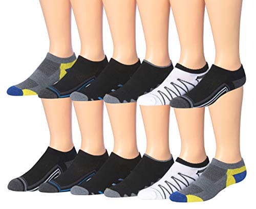 Socks Low Cut Performance Mens (James Fiallo Men's 12-Pairs Low Cut Athletic Socks, (Sock size 10-13) Fits shoe size 6-12, 2885-12)
