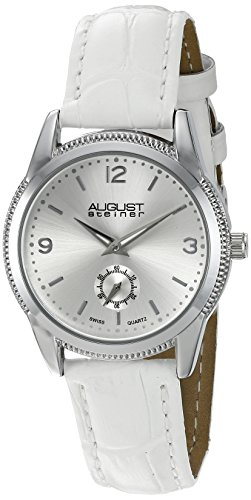 (August Steiner Women's AS8021WT Silver Swiss Quartz Watch with Silver Sunray Dial and White Leather Strap)