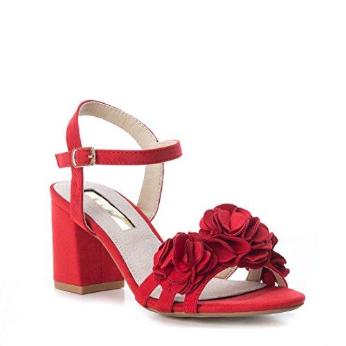 Xti TENTATIONS Sandales à Talons Décoration Fleurs Femme Collection Printemps Eté Rouge GXBp5i