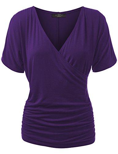 Made By Johnny WT1118 Womens V Neck Short Sleeve Wrap Front Drape Dolman Top L Dark_Purple