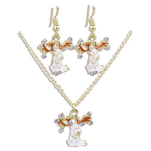4 Styles Christmas Jewelry Set Drop Oil Bow Wreath Earrings Necklace Snowman Reindeer Snowflake,Reindeer