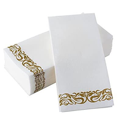 Bloomingoods Disposable Linen-Feel Guest Towels - Decorative White Hand Towels, Floral Paper Napkins