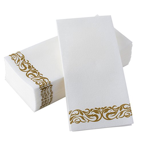 BloominGoods Disposable Hand Towels & Decorative Bathroom Napkins | Soft and Absorbent Linen-Feel Paper Guest Towels For Kitchen, Parties, Weddings, Dinners or Events | White and Gold (100-Pack)