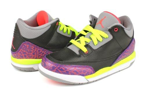 [441141-015] Air Jordan Pre-School Girls Air Jordan 3 Retro (PS) Pre-School Shoes Cool Grey/Blue Glow-Ntrl Grey 039-black/Atomic Red-cmnt Grey-vlt