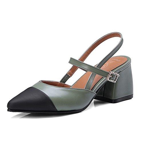 BalaMasa Womens Sandals Closed-Toe Fabric Huarache Urethane Sandals ASL04394 Green 0Th8ufTdX