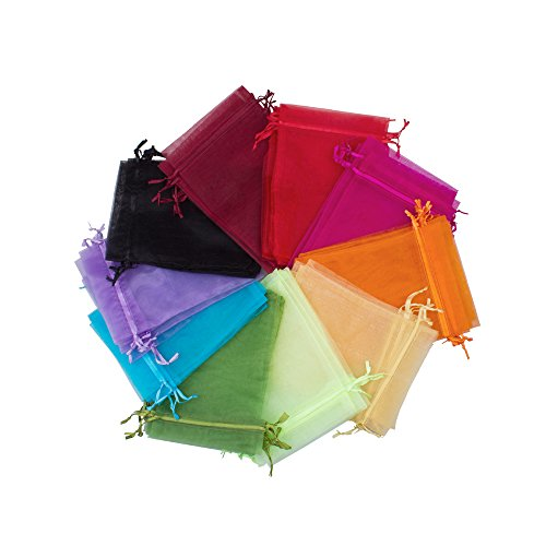 BALORAY 100pc 5x7 Inches Organza favor bags Mixed Colors Jewelry Pouch Bags Display