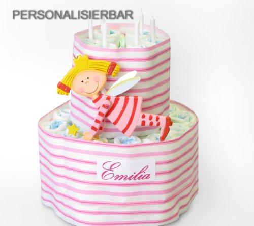 Windeltorte, rosa XXL mit Schutzengel und NAMEN, Geschenk zur Geburt, zur Taufe, Baby Shower, Taufgeschenk mit Name, Geburtsgeschenk
