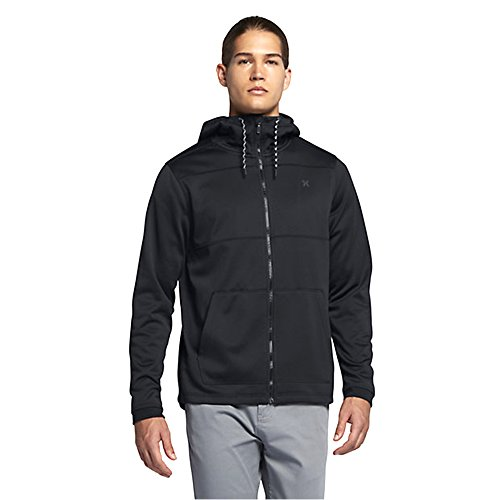 Hurley MFT0007540 Men's Therma Protect Zip Fleece Hoodie, Black - M - Edge Mens Hooded Zip Sweatshirt