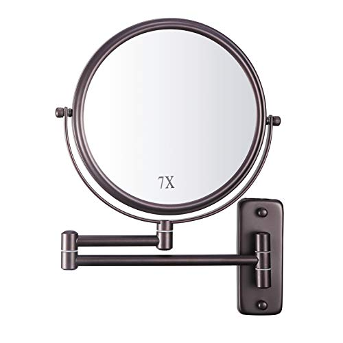 DECLUTTR Wall Mounted Makeup Mirror with 7X Magnification, 8 Inch Double Sided -