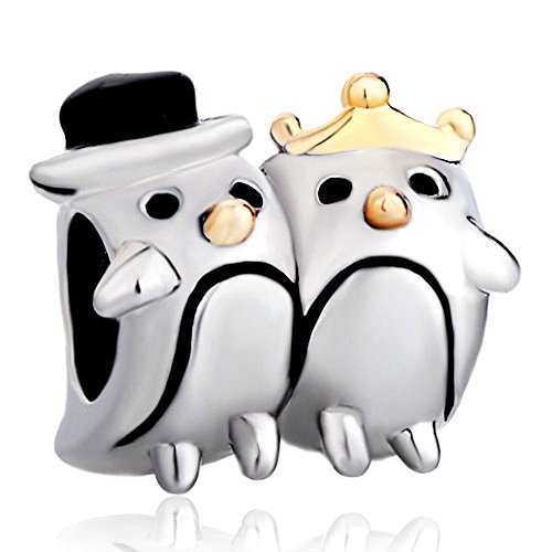 Silver Plated Pugster Penguin Couple Heart Love Charm Fits Pandora Bead Bracelet
