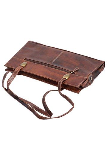 pour à AVANCO cuir véritable 36x21cm Sac femme main marron 7wCtxTC5q
