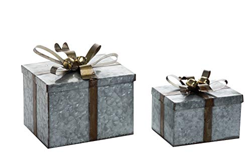 Transpac Imports D1420 Galvanized Metal Square Set of 2 Gift Box Set, (Accent Imports)