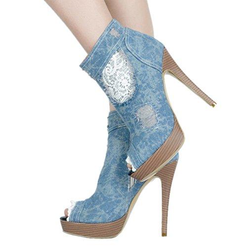 Ankle High Boots Peep Denim Mode Heel De Kolnoo Femmes Sexy toe Platform Blue Chaussures HFx8ZqEEwz