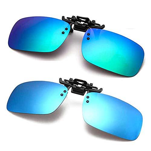 Polarized Clip-on Sunglasses Anti-Glare Driving Glasses for Prescription Glasses (Green + ()