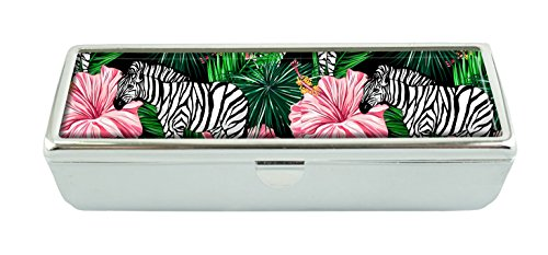 Hiuyi Zebras Custom Personalized Black Velvet Lined Lipstick Box With Built In Mirror Cosmetic Storage Box